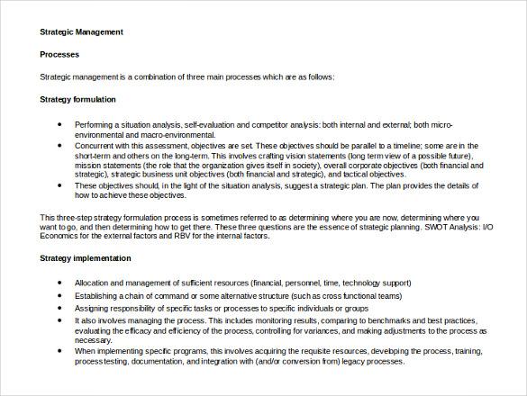 strategic management template