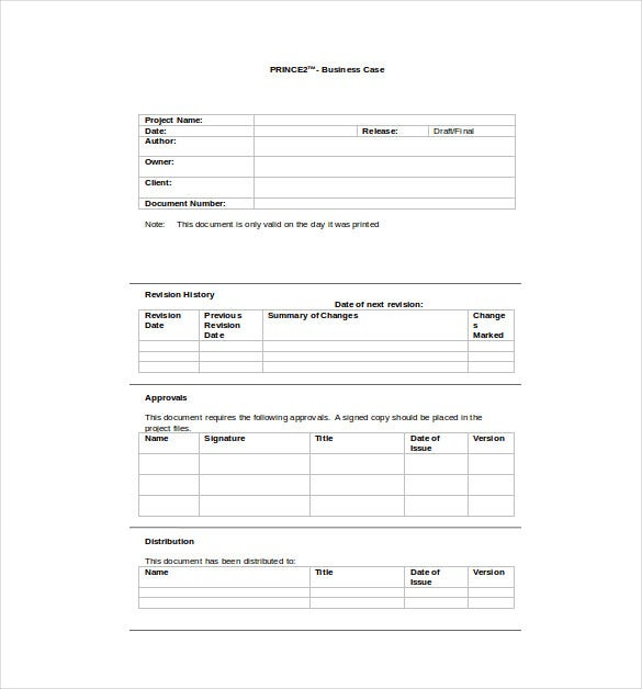 prince2 business case word template free download