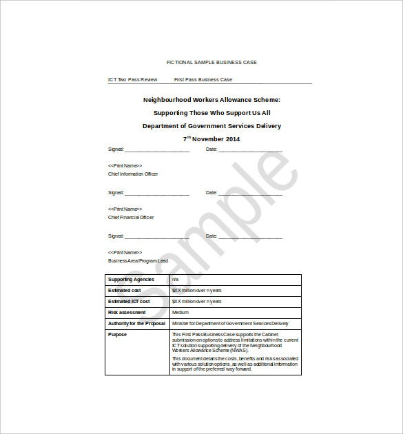 Free business case template accmission