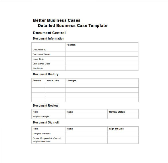 Better Business Case Word Template Free