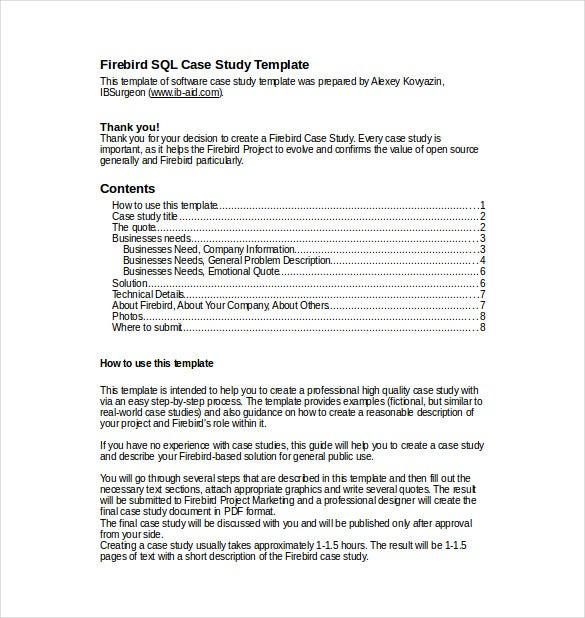 Medical case study format template