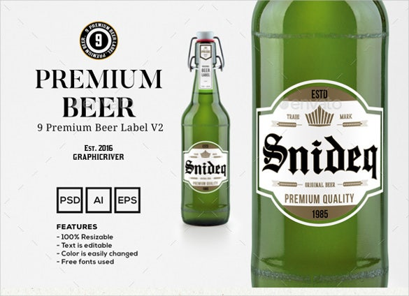 sample premium beer label