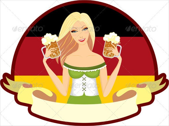 oktoberfest girl beer label of sample