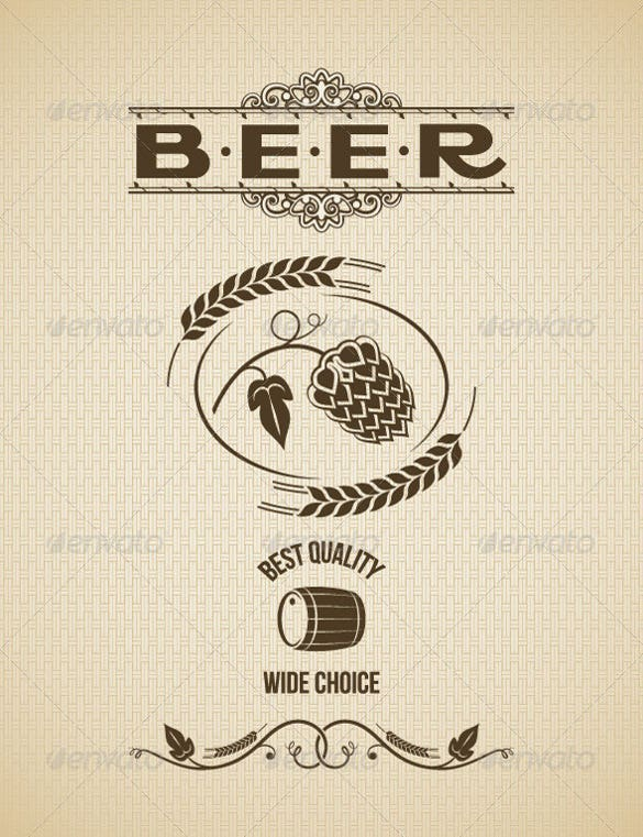 beer vintage label design background example template