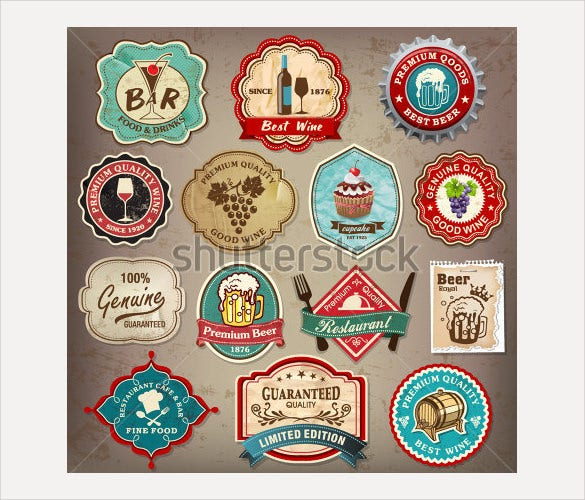 collection of vintage retro beer labels