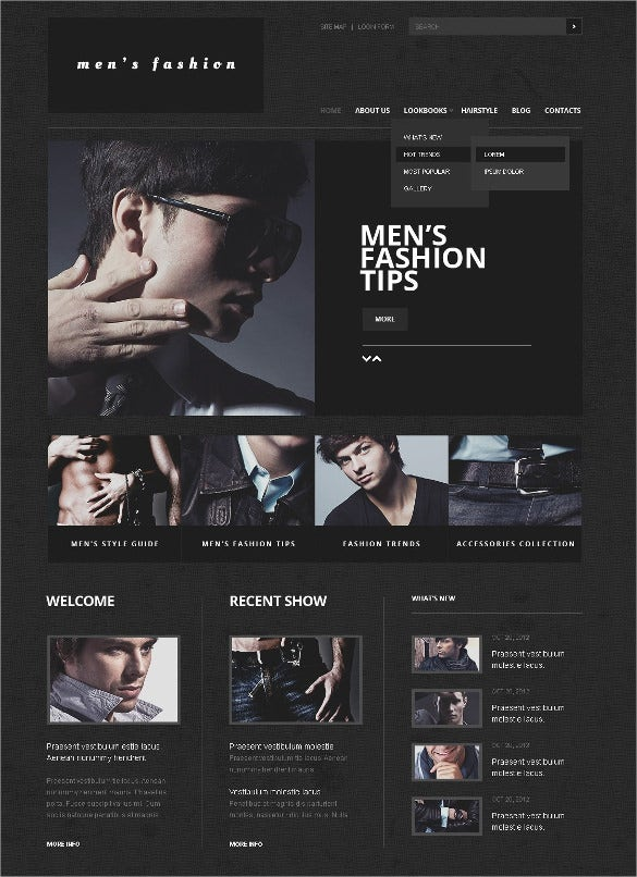 mens retail apparel joomla template