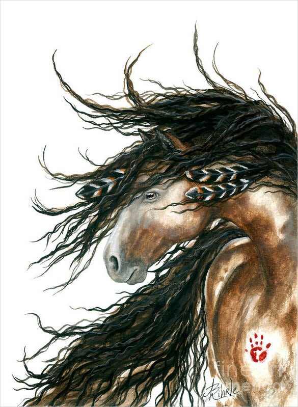 majestic pinto horse painting