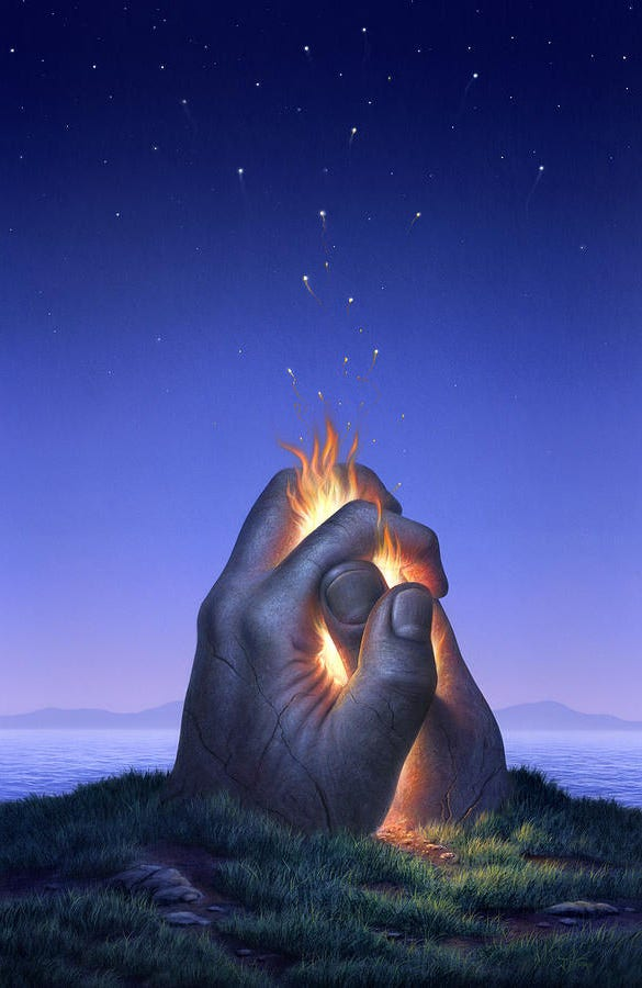 embers turn to stars beautiful hand painting