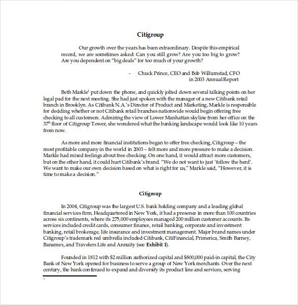 citibank case study word template free download