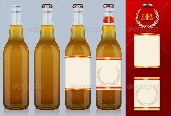 four beer bottles with label example format