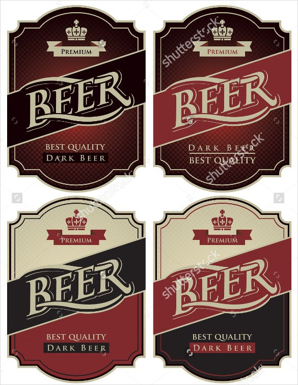 format example four labels for beer in a retro style
