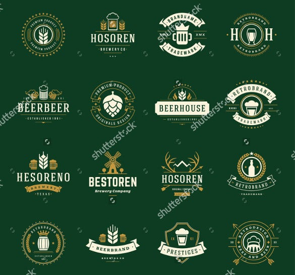 set beer logos and labels vintage style format download