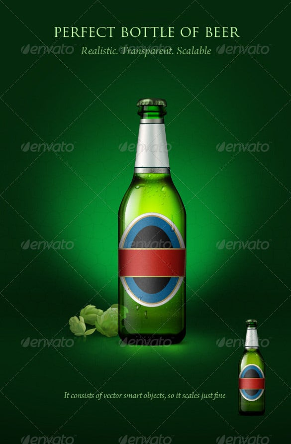 transparent example beer bottle with blanc label