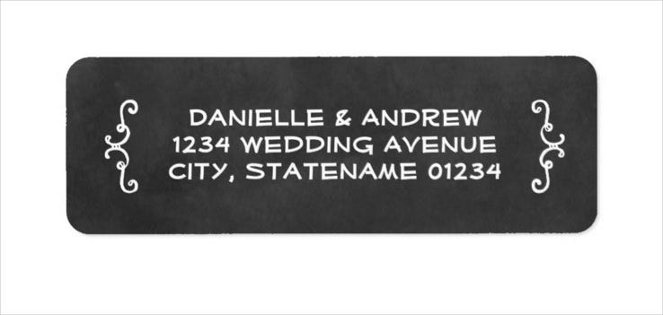 sample return address labels black chalkboard charm