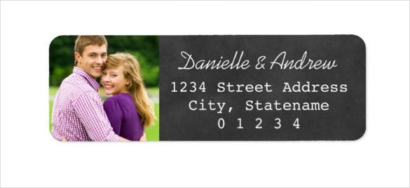 photo return address labels sample black chalkboard