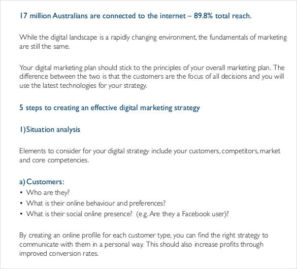 how to develop a digital marketing plan template