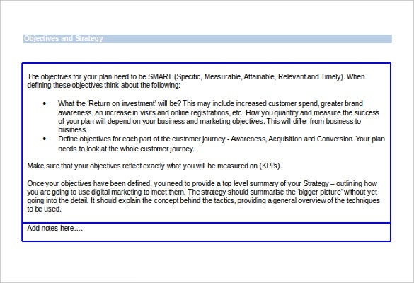e marketing strategic template free download