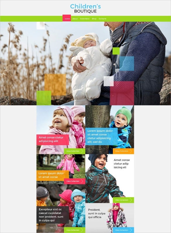 childrens retail boutique website template