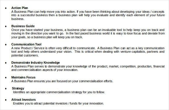 business plan template for innovative product