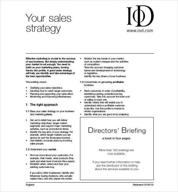 production sales strategy template