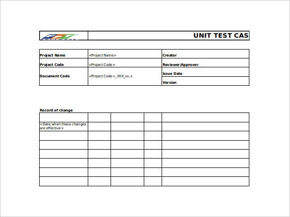 unit test case excel template free download