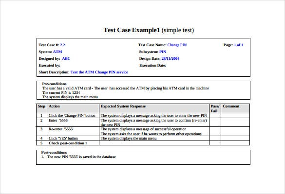 10 Test Case Templates Free Sample Example Format Download