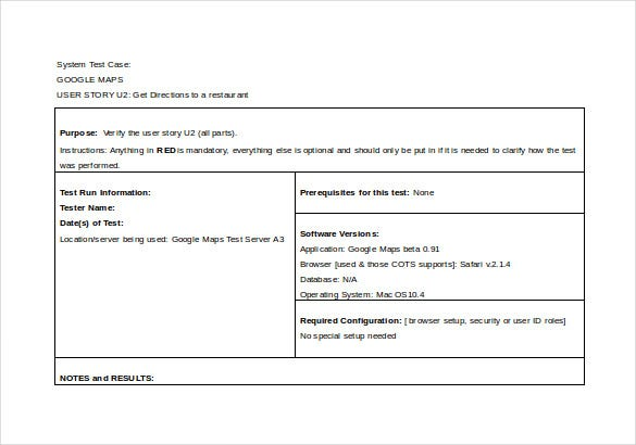 System Test Case Word Format Template Free Download