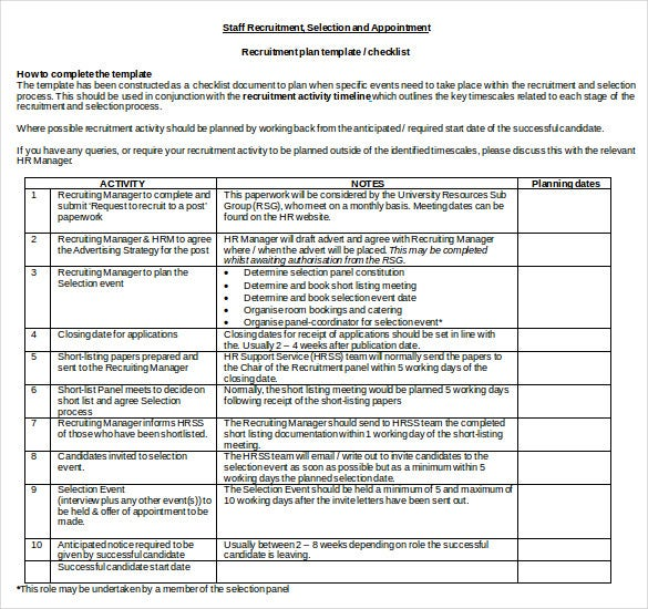 recruitment plan template checklist doc format free download