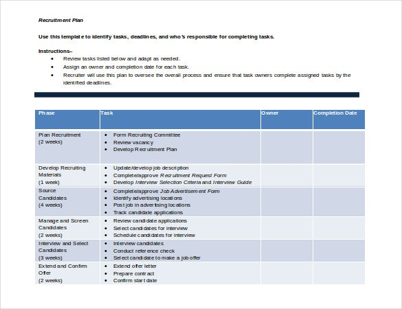 free download recruitment plan template doc format