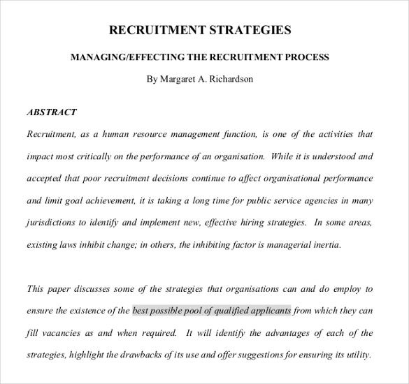 the process of recruitment strategies pdf format template