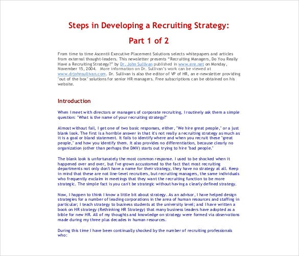 developing a recruiting strategy template pdf format