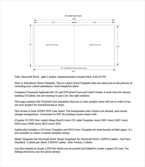 paper cd case pdf template free download