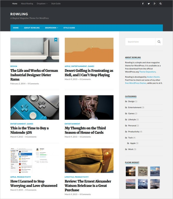 free magical news blog wordpress theme