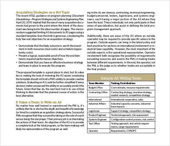 the acquisition strategy template pdf format free download
