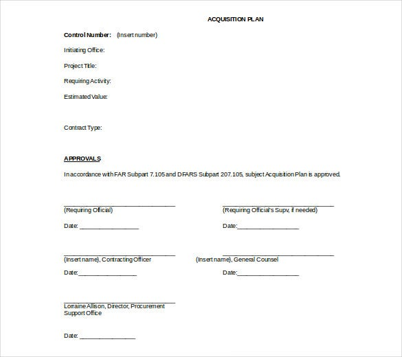 acquisition strategic plan doc format free template
