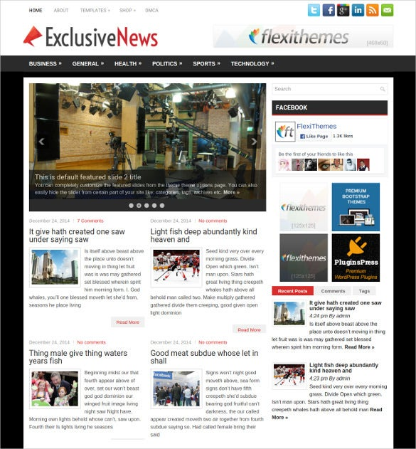 free exclusive news blog wordpress template