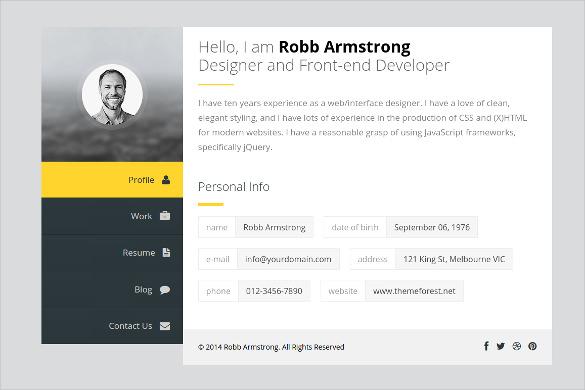 premium personal joomla vcard resume template