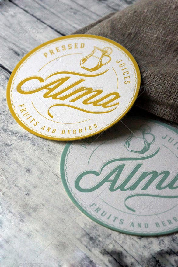 coaster round label mockup sample