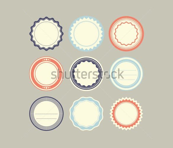 set of vintage labels of round template download