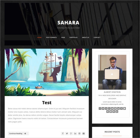 clean responsive personal drupal blog theme