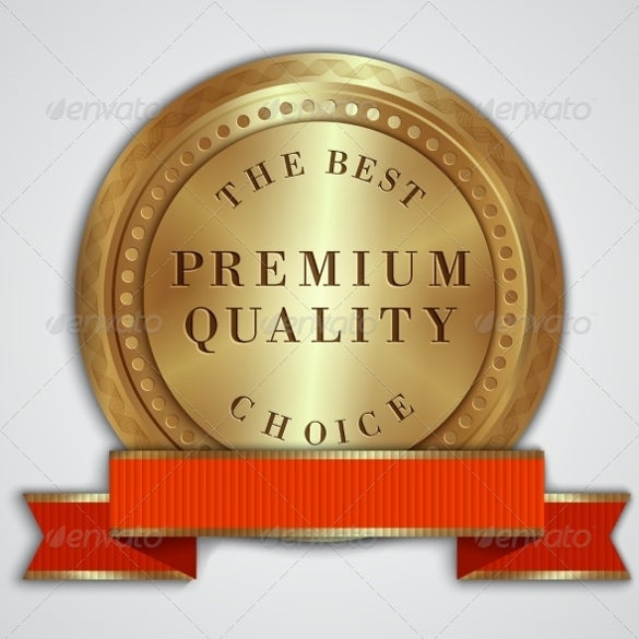 vector round golden badge label with red ribbon example template download