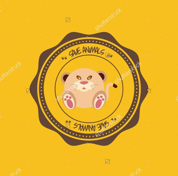 example abstract cute animal on a round label download