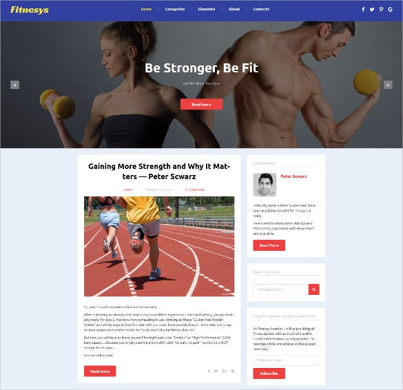 fitness blog wordpress bootstrap blog theme