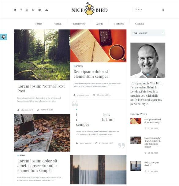responsive ghost multipurpose bootstrap blog theme