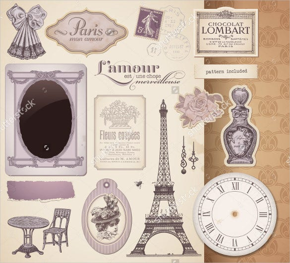 example vintage design elements and ephemera fashion label template