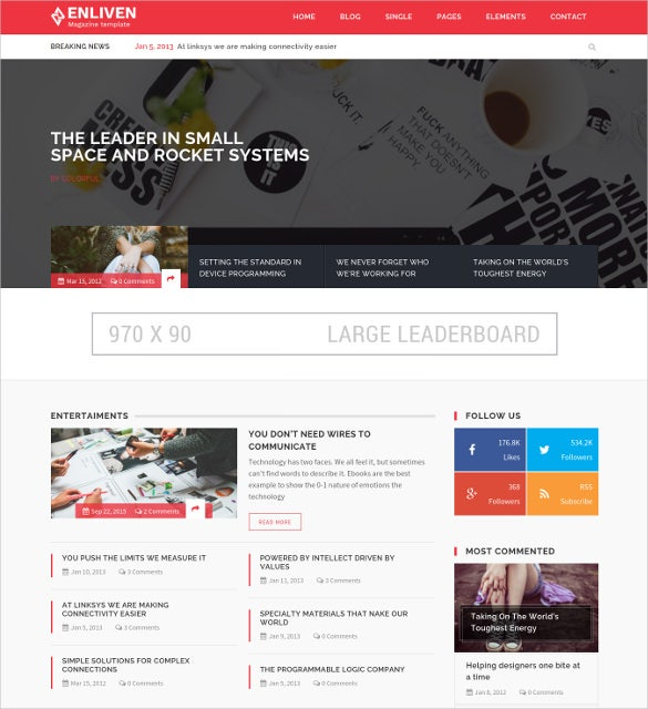 Parallax Blog & Magazine WordPress Bootstrap Blog Theme $49