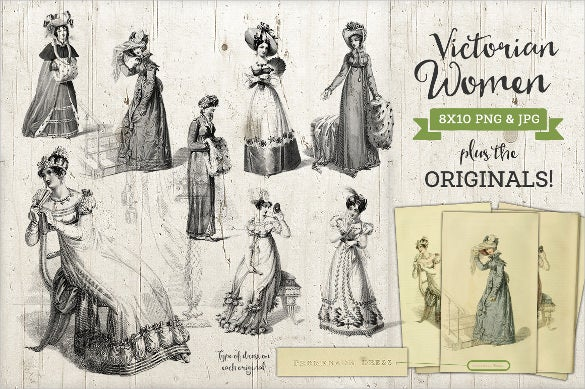 victorian women fashion label format download