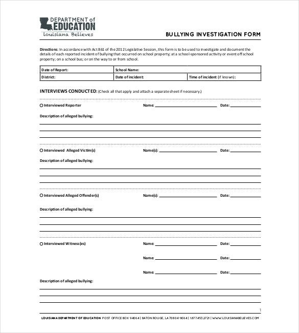 Investigation Report Templates   Free Word Pdf Documents