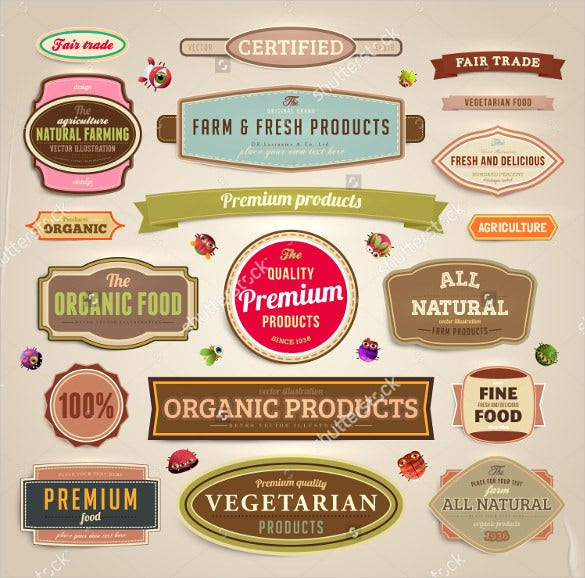set of vector food labels