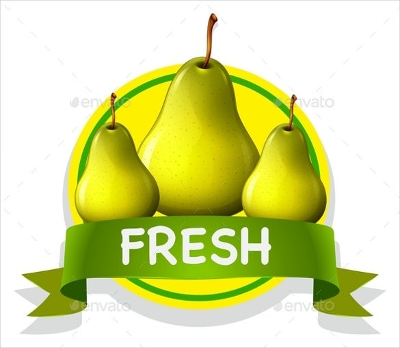 fresh food label with pears of sample template